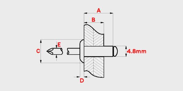 Choose Length 6.4mm Aluminium Steel Domed Head Sealed POP RivetOpen Rivets