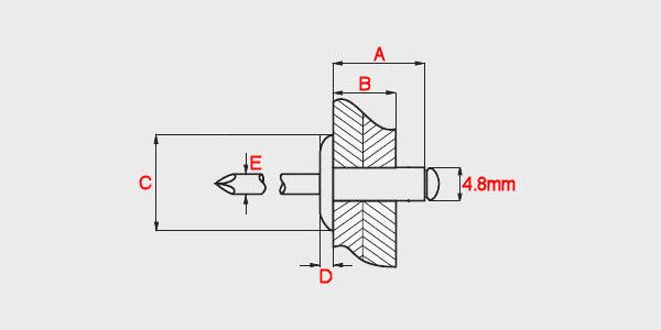 4.8mm x Choose Length Extra Large Flange Head 16mm Alum Steel Blind Pop Rivets